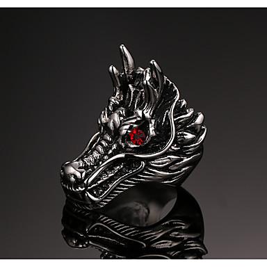 billige Motering-Herre Band Ring Ring 1pc Sølv Titanium Stål Statement Vintage trendy Fest Daglig Smykker Skulptur Drager