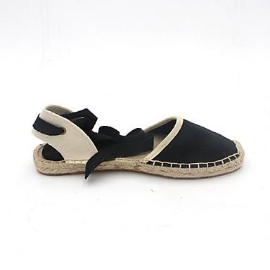 levne Dámské boty s plochou podrážkou-Dámské Bez podpatku Rovná podrážka Oblá špička Len Léto Černá / Béžová