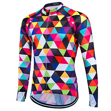 Fastcute สำหรับผู้ชาย แขนยาว Cycling Jersey อาร์'ไจล จักรยาน Sweatshirt เสื้อยืด Tops รักษาให้อุ่น ระบายอากาศ แห้งเร็ว กีฬา ฤดูหนาว เส้นใยสังเคราะห์ ความเย็นสุด® 100% โพลีเอสเตอร์ / กำมะหยี่