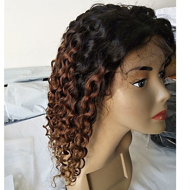 povoljno Perike i ekstenzije-Virgin kosa Remy kosa Lace Front Perika Stepenasta frizura Srednji dio Stražnji dio stil Brazilska kosa Duboko kovrčava Perika 130% Gustoća kose Prirodno Prijelaz boje Prirodna linija za kosu