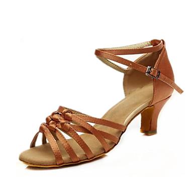 Mulheres Sapatos de Dança Latina Cetim Correia Cruzada Salto Salto Cubano Personalizável Sapatos de Dança Preto / Marron / Espetáculo / Couro