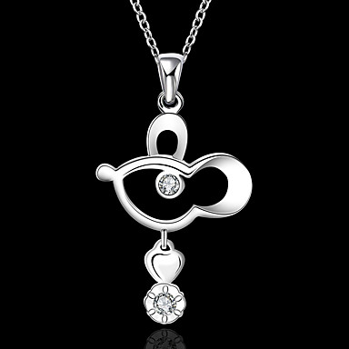 povoljno Modne ogrlice-Žene Kubični Zirconia Ogrlice s privjeskom Geometrijski Miš Moda Krom Pink 45+5 cm Ogrlice Jewelry 1pc Za Dnevno Rad