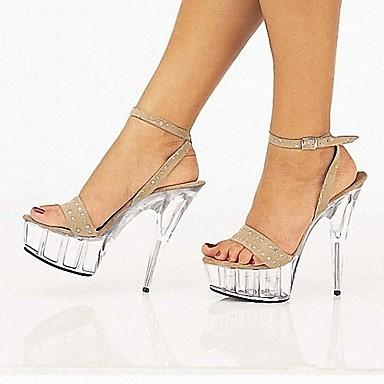 levne Dámské sandály-Dámské Sandály Vysoký úzký S otevřeným palcem PU Bristké Léto Černá / Světle šedá