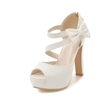 cheap Women's Sandals-Women's Sandals Chunky Heel Peep Toe Bowknot Faux Leather Casual / Sweet Walking Shoes Spring &  Fall / Spring & Summer Almond / Pink / White