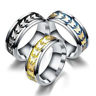 levne Pánské šperky-Pánské Dámské Band Ring Prsten Tail Ring 1ks Zlatá Černá Modrá Titanová ocel Kulatý Vintage Základní Módní Dar Šperky Motýlek Půvab