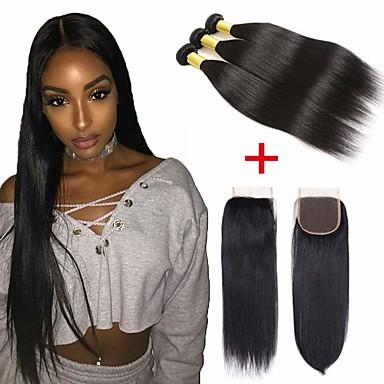 3 pacotes com fechamento Cabelo Brasileiro Liso Cabelo Humano 100% Remy Hair Weave Bundles Cabelo Humano Ondulado Cabelo Bundle Um Pacote de Solução 8-20 polegada Côr Natural Tramas de cabelo humano