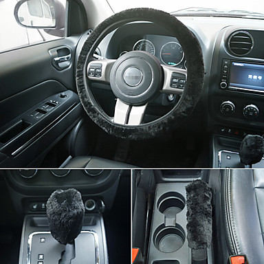 billige Interiørtilbehør til bilen-universal ratt plysj ratt dekker håndbremsdeksel girdeksel sett
