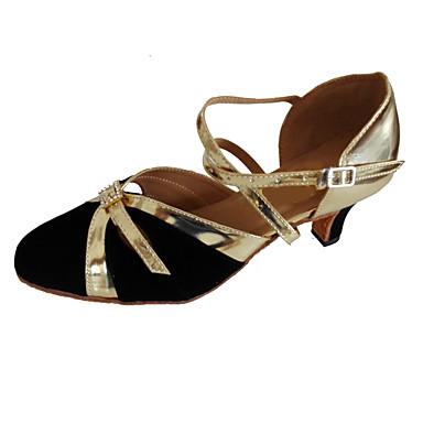 Homens / Mulheres Sapatos de Dança Moderna / Dança de Salão Couro Ecológico Salto Presilha Salto Cubano Personalizável Sapatos de Dança Preto e Dourado
