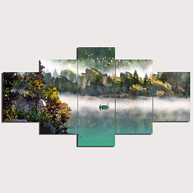 Estampado Estampados de Lonas Esticada - Abstrato Tradicional Modern 5 Painéis Art Prints
