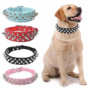 สุนัข ปลอกคอ สายปรับได้ / สามารถพับเก็บได้ ปักหมุด หนัง PU สีดำ สีน้ำตาล ขาว