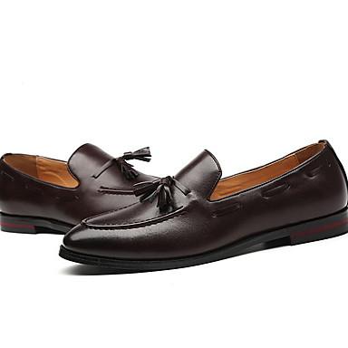 Homens Sapatos de couro Couro Ecológico Verão Mocassins e Slip-Ons Manter Quente Preto / Marron / Mocassim / Mocassim