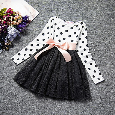 abordables Meilleures Ventes-Enfants Fille Points Polka Maille Manches Longues Maxi Robe Blanche