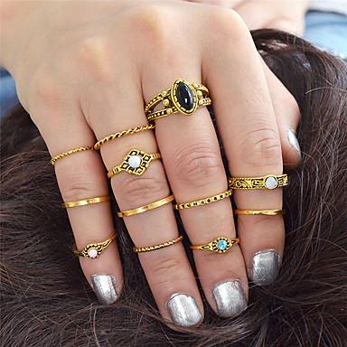 billige Motering-Dame Ring Set 12pcs Gull Sølv Legering Stilfull Unikt design Mote Gave Daglig Smykker geometriske Elefant Sol MOON Kul