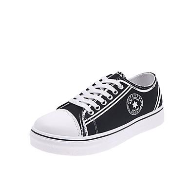 preiswerte LED Schuhe-Damen Sneakers Flacher Absatz Runde Zehe Leinwand Preppy Herbst Schwarz / Weiß / Burgund
