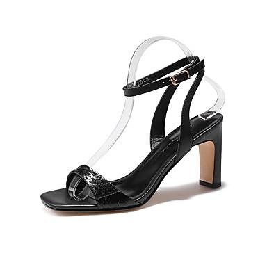 levne Dámské sandály-Dámské Sandály Block Heel Čtvercová špička Ovčí kůže / Krokodýl Léto Černá / Fialová