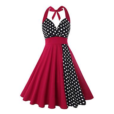 Inspiração Vintage Vestidos Mulheres Elastano Ocasiões Especiais Vermelho + preto Vintage Cosplay 3/4 de Manga