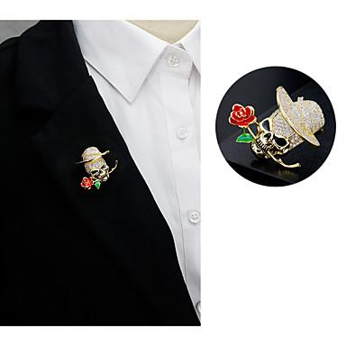 levne Dámské šperky-Pánské Brože Ozdobný Lebka Kytky Punk Barroco Moderní Barevná Perly Umělé diamanty Brož Šperky Zlatá Pro Svatební Dar Street Slib