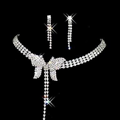 voordelige Dames Sieraden-Dames Oorknopjes Ketting Vlinder Stijlvol oorbellen Sieraden Zilver Voor Bruiloft Feest 1 set
