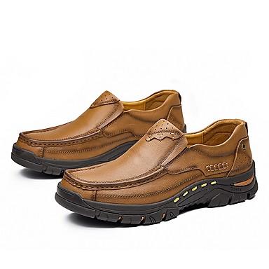 Homens Sapatos de couro Couro Primavera Verão Mocassins e Slip-Ons Marron / Khaki