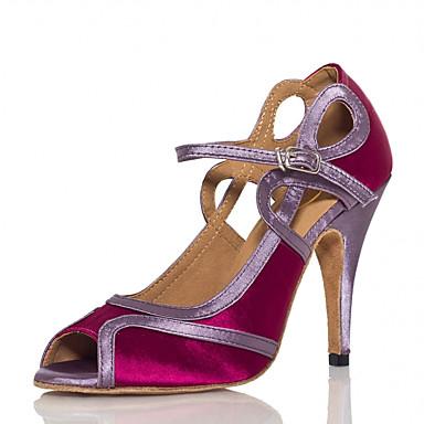 Mulheres Sapatos de Dança Cetim Sapatos de Dança Latina Recortes Salto Salto Alto Magro Personalizável Roxo / Espetáculo