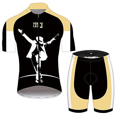 21Grams Micheal Jackson Homens Manga Curta Camisa com Shorts para Ciclismo - Preto / amarelo Moto Conjuntos Respirável Secagem Rápida Tiras Refletoras Esportes 100% Poliéster Ciclismo de Montanha