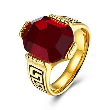 voordelige Herensieraden-Heren Ring Synthetische Ruby 1pc Goud Titanium Staal Geometrische vorm Stijlvol Lahja Dagelijks Sieraden Klassiek Gypsophila Cool