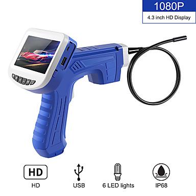 voordelige Microscopen & Endoscopen-4.3 inch industriële endoscoop 1080 p inspectie camera voor auto reparatie tool snake hard 1 m handheld borescope