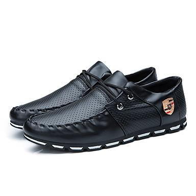 Homens Sapatos Confortáveis Couro Ecológico Primavera Verão Casual Oxfords Respirável Preto / Branco e Preto / Branco