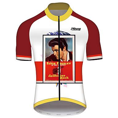 21Grams Elvis Presley Homens Manga Curta Camisa para Ciclismo - Vermelho / Branco Moto Camisa / Roupas Para Esporte Blusas Respirável Secagem Rápida Tiras Refletoras Esportes 100% Poliéster Ciclismo