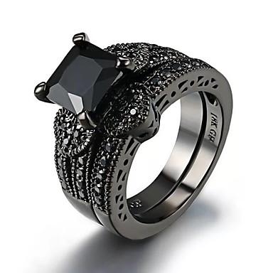 levne Dámské šperky-Dámské Prsten 2pcs Černá Umělé diamanty Slitina Čtvercový řez Vintage Moderní korejština Denní Šperky Retro styl Šťastný