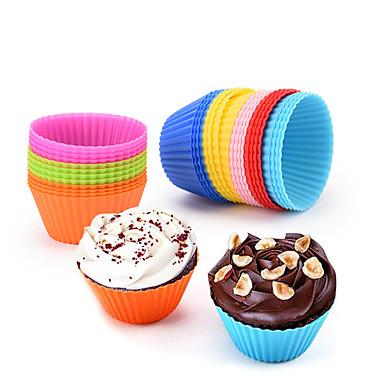8pçs silica Gel Heatproof 3D Faça Você Mesmo Cupcake para bolo Redonda Moldes de bolos Ferramentas de massa Ferramentas bakeware