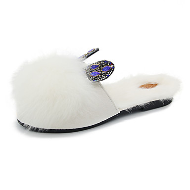 voordelige Damespantoffels & slippers-Dames Slippers & Flip-Flops Platte hak Ronde Teen Imitatiebont Herfst winter Zwart / Wit / Khaki
