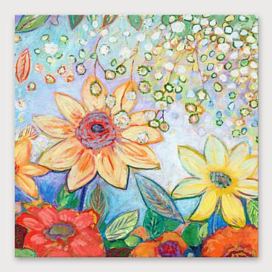 Pintura a Óleo Pintados à mão - Abstrato Floral / Botânico Modern Incluir moldura interna