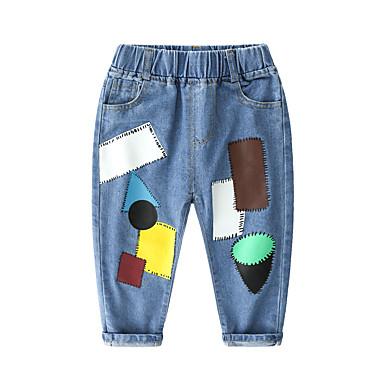 preiswerte Jeanshosen für Jungen-Kinder Jungen Grundlegend Street Schick Patchwork Druck Jeans Blau