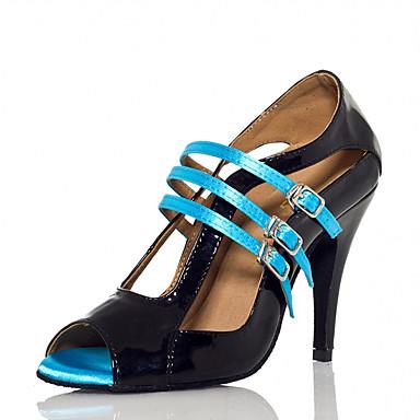 Mulheres Sapatos de Dança Couro Ecológico Sapatos de Dança Latina Recortes Salto Salto Alto Magro Personalizável Preto / Espetáculo