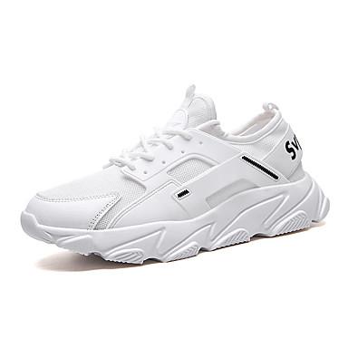 Homens Sapatos Confortáveis Couro Ecológico / Tissage Volant Verão Esportivo Tênis Corrida Não escorregar Preto / Branco / Vermelho / Atlético