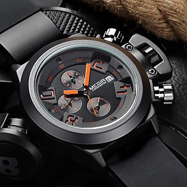 levne Pánské-MEGIR Pánské Sportovní hodinky Vojenské hodinky Náramkové hodinky japonština Křemenný Silikon Černá / Bílá 30 m Voděodolné Kalendář Chronograf Analogové Na běžné nošení Elegantní & moderní Outdoor
