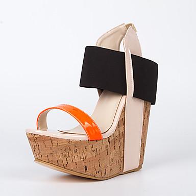 Mulheres Sandálias Salto Plataforma Dedo Aberto Couro Ecológico Doce Verão Laranja / Estampa Colorida