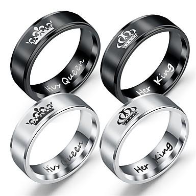 voordelige Herensieraden-Heren Dames Bandring Ring Staartring 1pc Zwart Zilver Titanium Staal Cirkelvormig Vintage Standaard Modieus Dagelijks Sieraden Letter Kroon Cool