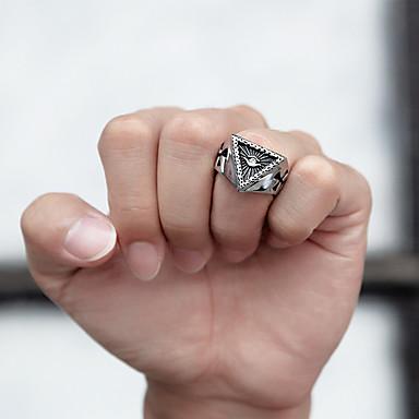 voordelige Herensieraden-Heren Bandring Ring 1pc Goud Zilver Roestvast staal Gesimuleerde diamant Stijlvol Luxe modieus Feest Dagelijks Sieraden Sculptuur Kruis Ogen