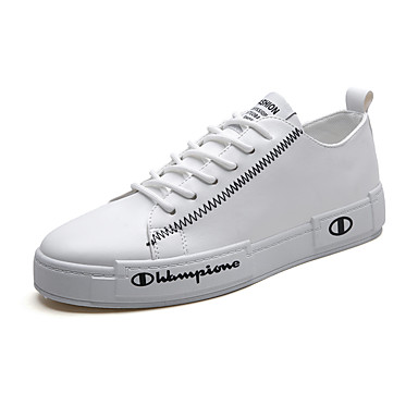 Homens Sapatos Confortáveis Couro Ecológico Primavera Verão / Outono & inverno Casual / Colegial Tênis Respirável Preto / Branco / Vermelho