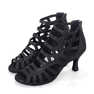 preiswerte Tanzschuhe-Damen Tanzschuhe Kunststoff Schuhe für den lateinamerikanischen Tanz Glitzer Absätze Keilabsatz Maßfertigung Gold / Schwarz / Rot / Leistung / Leder / Praxis