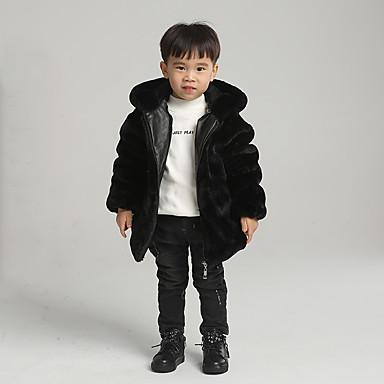 Baby & Kids-Kids Boys' Basic Solid Colored Regular Faux Fur Jacket & Coat Black