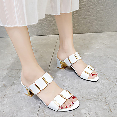 Mulheres Sandálias Salto Robusto Peep Toe Couro Ecológico Verão Preto / Branco