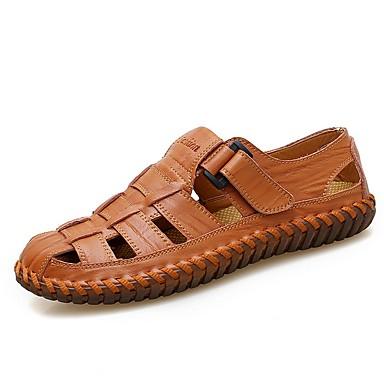 preiswerte Herren Sandalen-Herrn Komfort Schuhe Sommer Freizeit / Römische Schuhe Alltag Sandalen Walking Leder Atmungsaktiv Gelb / Braun / Schwarz