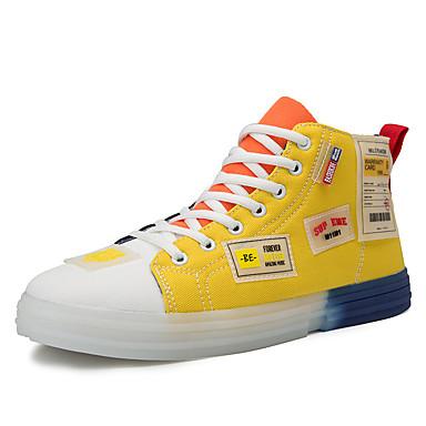Homens Sapatos Confortáveis Couro / Lona Verão Casual Tênis Caminhada Respirável Verde e Azul / Laranja / Amarelo / Ao ar livre