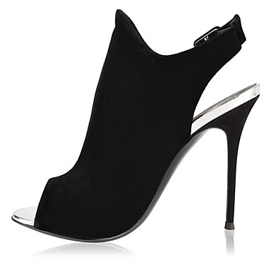 Mulheres Botas Salto Agulha Peep Toe Presilha Camurça Botas Curtas / Ankle Minimalismo Primavera & Outono / Inverno Preto / Festas & Noite