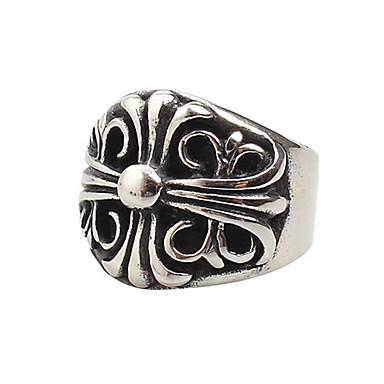 billige Motering-Herre Band Ring Ring 1pc Sølv Titanium Stål Sirkelformet Vintage Grunnleggende Mote Daglig Smykker Kors Totem Serier Kul