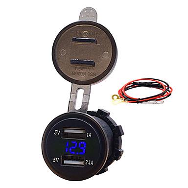 levne Auto Elektronika-12v auto motocykl mobilní telefon auto nabíječka duální usb 3.1a cigaretový zapalovač nabíječka s řadou modelůblue 3.1a duální usb voltmetr kabel délka60cm