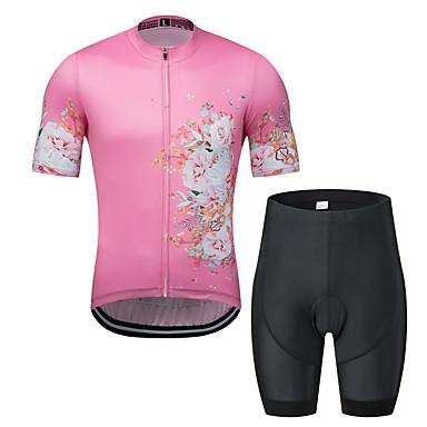 MUBODO Floral Botânico Homens Manga Curta Camisa com Shorts para Ciclismo - Rosa claro Moto Conjuntos Respirável Pavio Humido Secagem Rápida Esportes Tule Ciclismo de Montanha Ciclismo de Estrada